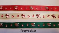 1m x 15mm RED/GREEN/IVORY SANTA/FATHER CHRISTMAS RIBBON - CRAFTS/CARD MAKING