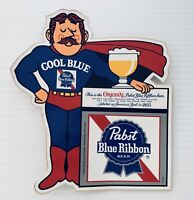 Vtg Old Pabst Blue Ribbon Beer Brewing PBR Cool Blue Sticker Decal Superman NOS