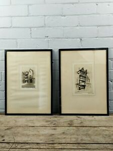 A Pair of Antique Artist Signed Etchings by E.J Maybury