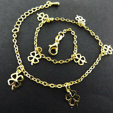 G/F Solid Four Leaf Glover Charm Design Anklet Xl Bracelet Real 18K Yellow Gold