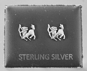 STERLING SILVER 925, STUD EARRINGS ZODIAC SAGITARIUS WITH BUTTERFLY BACKS