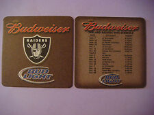 Beer Bar Coaster: BUDWEISER - Bud Light ~ 2003 Oakland Raiders Football Schedule