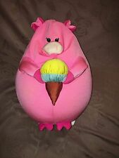 MOSHI PINK SQUISHY PLUSH BEAN BAG PIG W YELLOW BLUE ICE CREAM CONE 13""