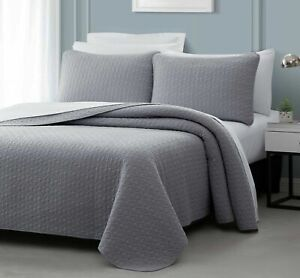 Quilted Bedspread Light Grey Bed Coverlet, Puzzle Stitched Design All Size Bed