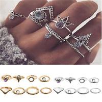 8PC Set Vintage Silver Gold Boho Arrow Gemstone Midi Finger Knuckle Ring Jewelry