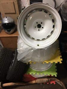 "MASSIVE 9.5x18"" BANDED STEEL WIDE DEEP DISH WHEELS 5x100 WIDE ARCH SUBARU VW"