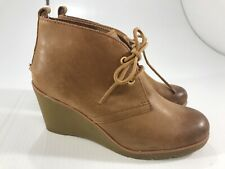 Sperry Top-Sider Women's Brown Leather Lace Up Wedge Ankle Booties Size 6.5