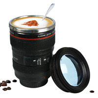 400ml Stainless Steel Camera Lens Mug With Lid Coffee Mugs Tea Cup Caneca Cups