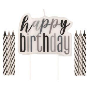 Black Glitz Happy Birthday Party Supplies Tableware, Decorations, Balloons