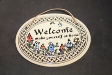 Vtg HANDCRAFTED Trinity Pottery WISCONSIN Welcome Sign For Door
