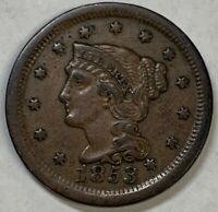 1853 US Large Cent AU Almost Uncirculated Chocolate Brown