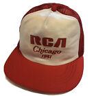 NOS Vtg 80s Reynolds Red RCA Chicago 1981 Mesh TRUCKER Hat Snapback Redneck Cap