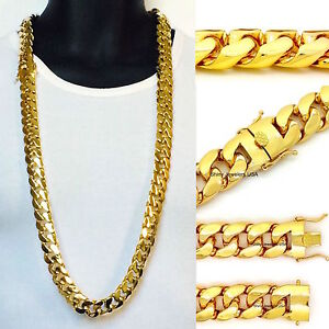 XL BIG 20mm CELEBRITY STYLE  MIAMI CUBAN LINK HEAVY 38'' CHAIN NECKLACE