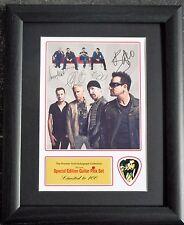 U2 Preprinted Autograph & Guitar Pick Display Mounted & Framed