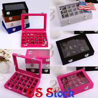Velvet Glass Jewelry Ring Earring Display Organizer Box Tray Holder Storage Case