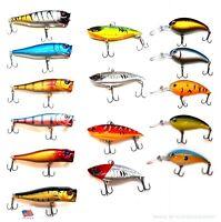 New 15 Fishing Lures Combo Top Water Popper VIB Bait Bass Swimbaits, Wobbler