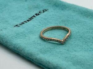 Tiffany & Co V Ring Rose Pink Gold 18k 750 Diamond Soleste Band Size 5.5