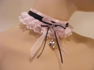 Sissy Kätzchen Pink Spitze Halsband Ddlg Opt Glocke Kawaii Lolita Kostüm Cosplay