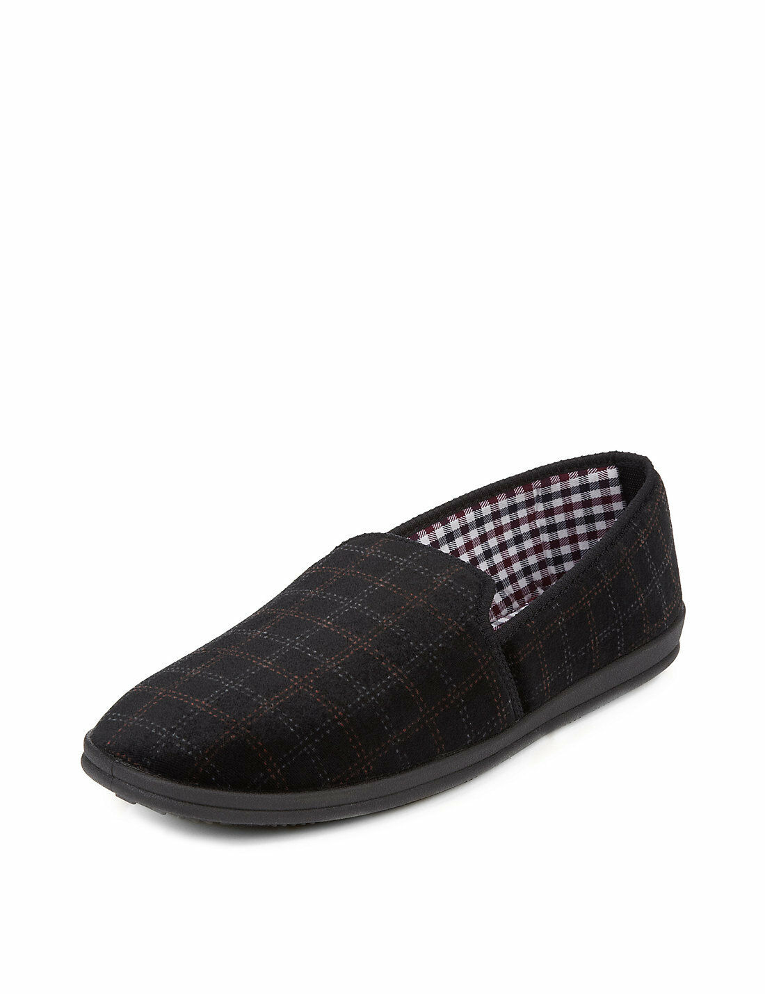 Marks and Spencer Spencer and Slip-On Check Slippers Talla 12 Negro 85dca9