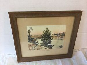 Antique Gibson Hand Colored Photo Mirrored Shadows with Great Original Frame