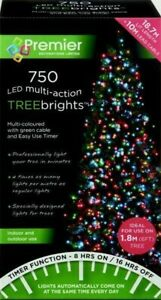Premier 750 LED Multi-Action TreeBrights Christmas Tree Lights with Timer MULTI