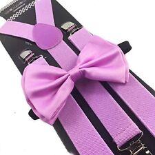 Bow Tie Set Wedding Prom Adjustable Lavender Light Purple Suspenders & Matching