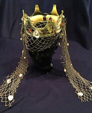 QUEEN-PRINCESS OF THE SEA MERMAID GOLDEN PLASTIC CROWN-ASH GREEN FISH NET/SHELLS