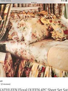 RARE Ralph Lauren Kathleen Yellow Floral King Sheet Set Flat Fitted Pillowcases