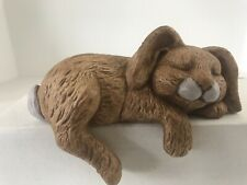 "Vtg Handmade Ceramic Sleeping Rabbit Bunny Figurine Tan 5"" Shelf Sitter"