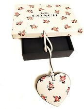 Nwt Valentine's Day Leather Heart Ornament Floral Design Coach Msrp $35