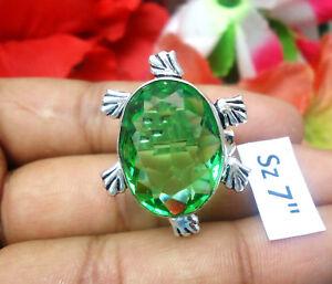 "Blue Sapphire Citrine Mix Gemstones Ring 925 Silver Overlay Sz 7""  U80"