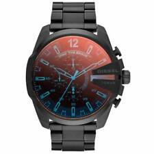 * Nuovo * Diesel DZ4318 Mega Chief Nero Ion Plated STAINLESS STEEL UOMO POLSO Watc