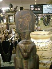 Vintage  Egyptian God Horus Statue Hand Carved natural Lime stone 1966