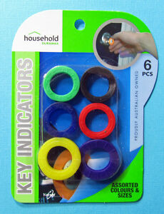 Lot of 6 Home Aide Color Coded Key ID Cover Indicators Rings Assorted  Sizes