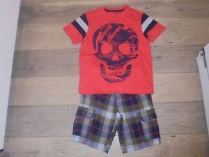 Gymboree Shipmates plaid cargo shorts with matching skull t-shirt boys 7