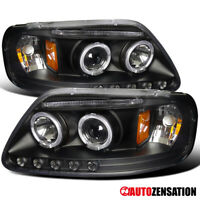 For 1997-2003 Ford F150 Expedition Black Clear Halo Rims Projector Headlights
