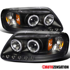 For 1997-2003 Ford F150 Expedition Black Halo Rims Projector Headlights