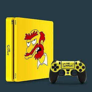 PS4 Slim Vinyl Skin & 2x Controller Skins, The Simpsons Willie Themed.