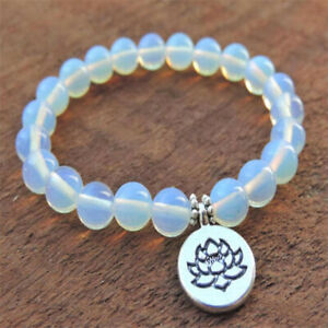 8mm Opal Mala Bracelets Gemstone lotus pendant Stretchy Reiki Monk Yoga Handmade
