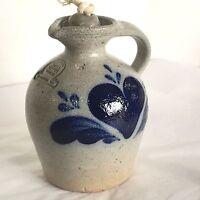 VTG Rowe Pottery Works Kerosene Bottle Lamp Oil Pitcher Jug Blue Heart Primitive