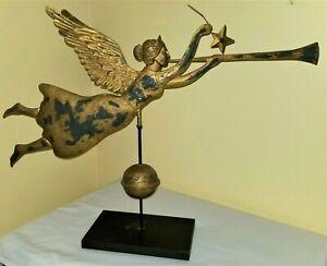 "ANGEL weathervane, Gabriel, hollow body, painted heavy tin, vintage, 27"""