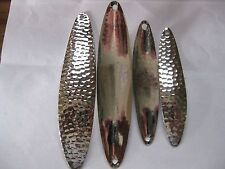 "4 TROLLING MINNOW spoon blanks, 3 & 4"" long, .018 THICK HAMMERED nickel"