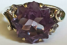 Large Vintage Star Cut Color Change Alexandrite 10k Yellow Gold Size 5.5 Ring 5g