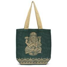 Metallic Ganesha Jute Tote Forest Green Indian Burlap Bag Matr Boomie
