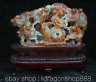 "12""Chine Naturel Xiu Jade Jadéite Sculpté Feng Shui Animale Rouge Poisson Statue"