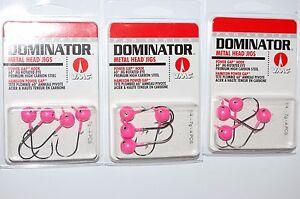 3 packs vmc dominator metal head jigs 1/4oz hot pink power gap mhj14-hp
