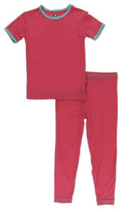NEW Kickee Pants Pajama Set in Solid Red Ginger with Neptune, size 12-18 months