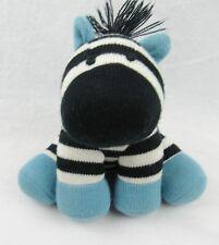 "Stuffed Zebra Knit Design Black White Blue Sitting 00004000  9"" Tall Toy or Nursery Decor"