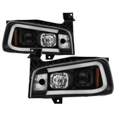 Fit 06-10 Dodge Charger LED Tube Black Projector Headlights Daytona R/T SE SXT