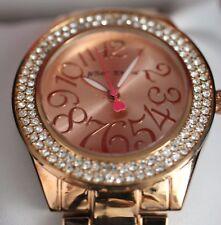 Betsey Johnson rose gold tone~pave crystal watch, NIB